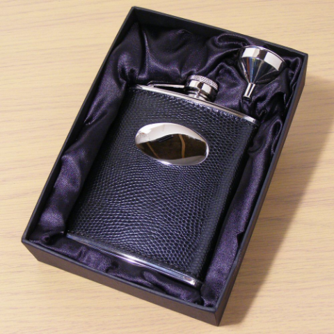 Black Leather Hip Flask Personalised Best Man Usher Groomsman Gift